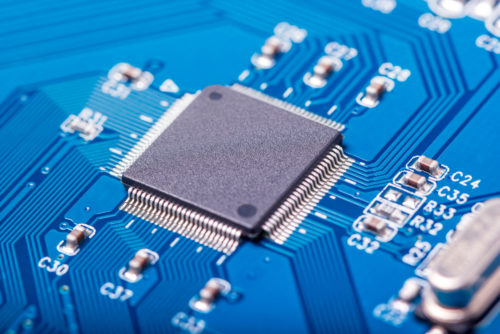 Electronic collection - closeup of computer circuit board with radioelements